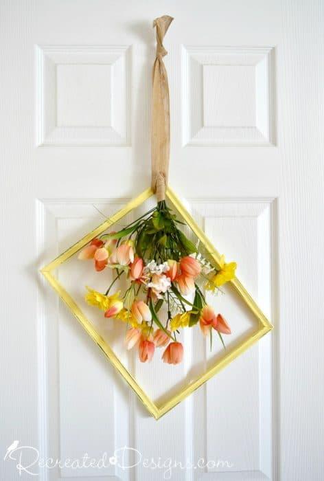 vintage frame Spring wreath