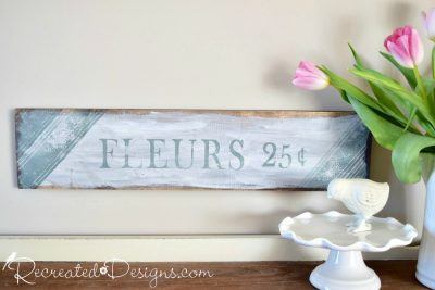 Fleurs sign painted with Milk Paint and stamped with IOD stamps