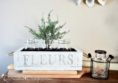 rustic flower box painted with Milk Paint and stamped with IOD Alphabet stamps