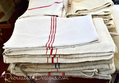 vintage grain sacks found at a flea market in Ottawa, Canada at the Aberdeen Pavilion