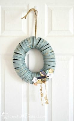 upcycled Mason Jar rings made into a Spring or Summer wreath
