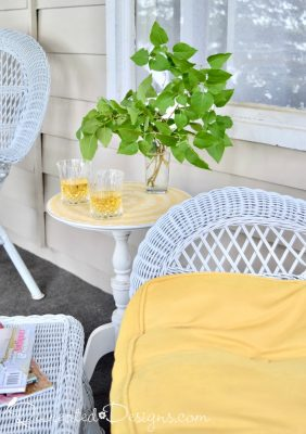 sipping cold drinks on a cottage porch in summer