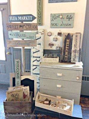 hand painted signs Recreated Designs booth Carleton Place, Ontario