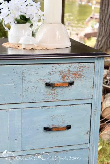 Miss Mustard Seed Milk Paint on a vintage dresser all chippy and beautiful