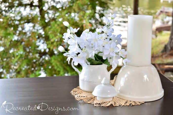 vintage Ironstone and vintage doily
