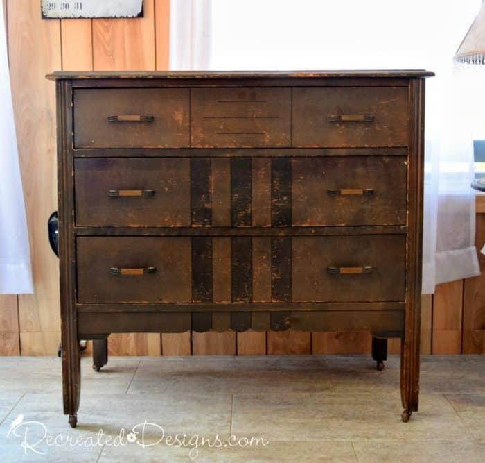 vintage dresser rescued from dump