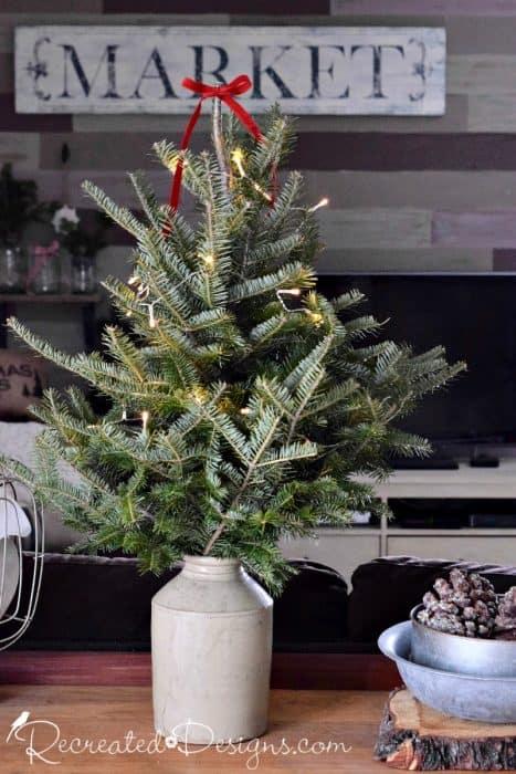 small Christmas tree in vintage crock