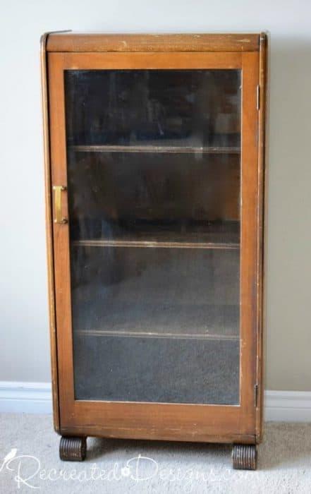 vintage bookshelf with glass