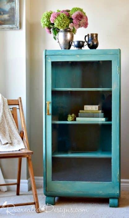 vintage bookshelf painted with Miss Mustard Seed Milk paint