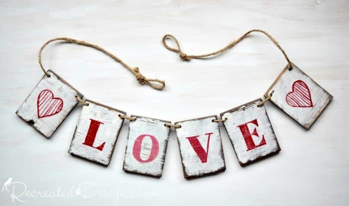 Love Garland painted with Miss Mustard Seed Milk Paint