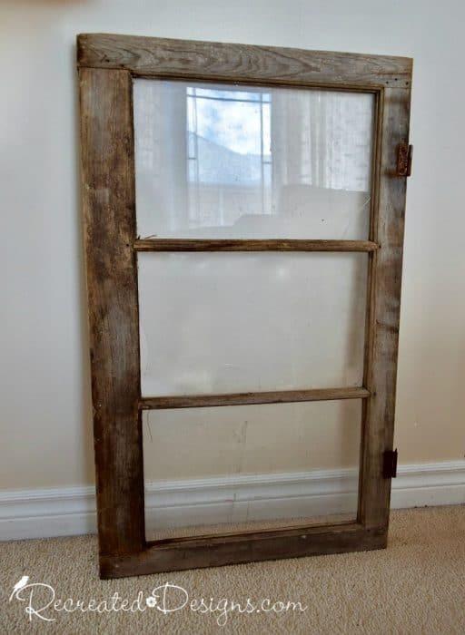 old three paned window