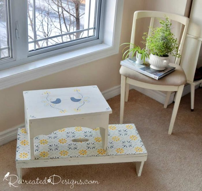vintage benches recreated with Dala Muses stencils