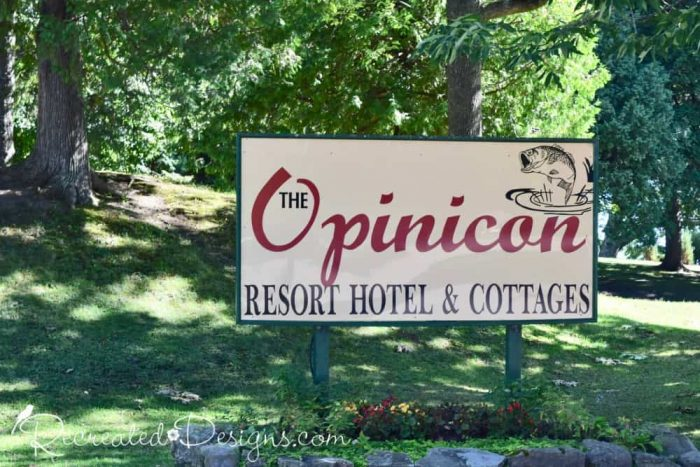 The Opinicon sign historic resort in eastern Ontario Canada