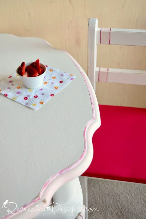 pink details on an upcycled table set