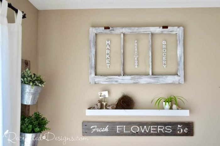 farmhouse style decor in a kitchen with an upcycled window