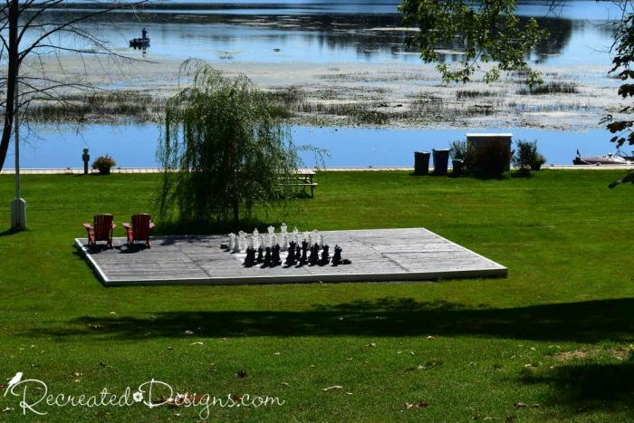 giant chess board at The Opinicon Elgin Ontario travel day trip