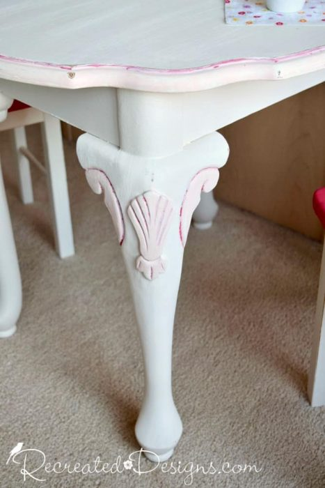 enhancing details on an upcycled side table