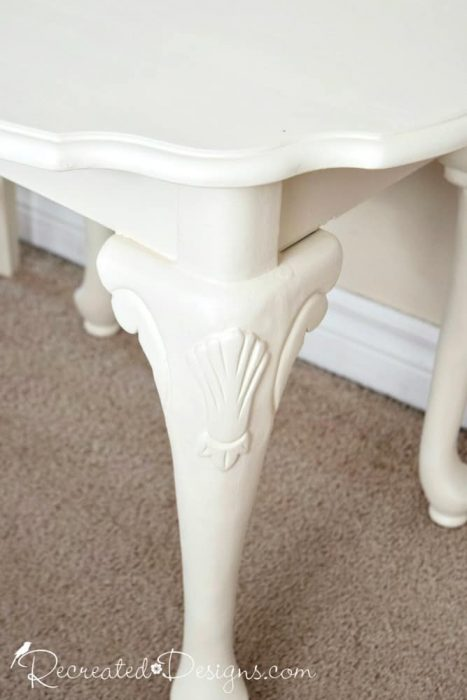 painted table legs with shell details