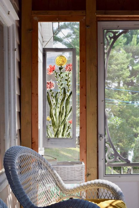 a reclaimed window as art and privacy