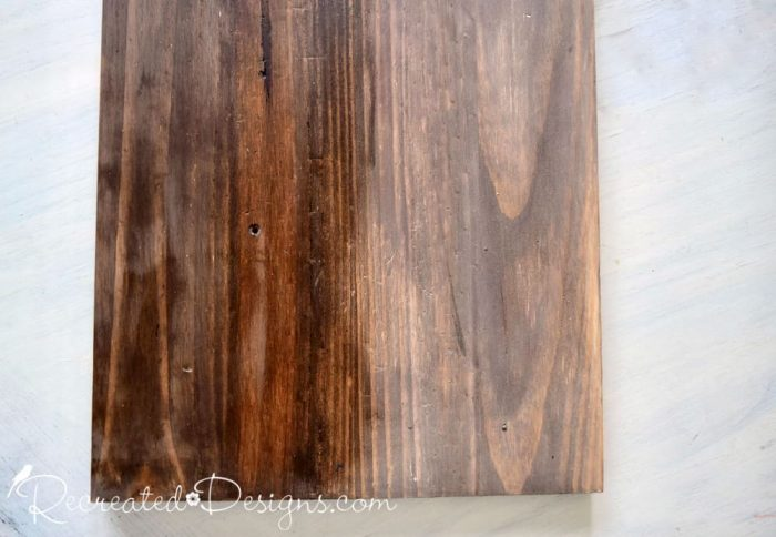 adding dark wax to a stained board