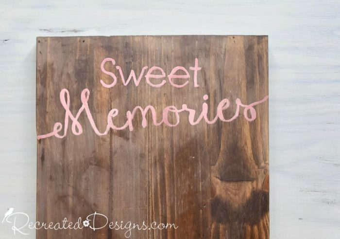 painting Sweet Memories on a photo board using a Recreated Designs Pattern