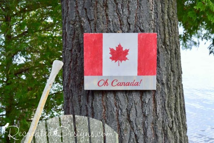 Canada Flag sign painted using a Recreated Designs Pattern