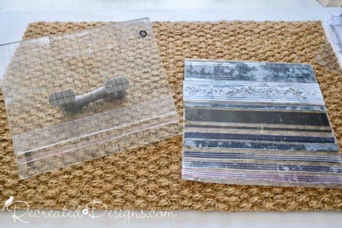 IOD Grainsack stripe stamps and an IKEA jute rug