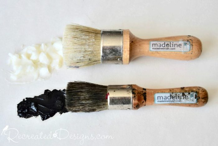 well loved and used Madeline wax brushes with clear and Black wax