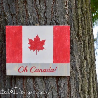 Oh Canada flag sign painted using a Recreated Designs Pattern