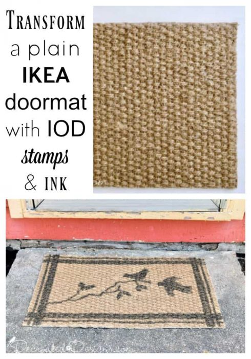 transforming a plain IKEA doormat with IOD stamps and ink