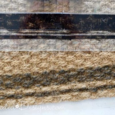 Stamping an IKEA jute rug with IOD stamps and black ink