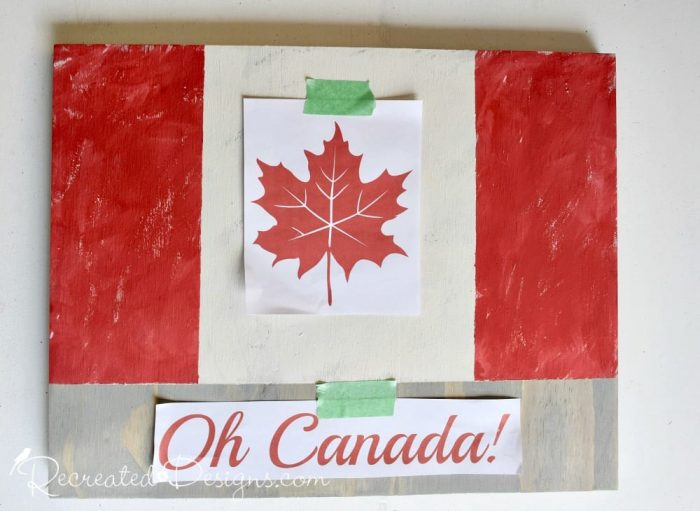 using a Recreated Designs pattern for a Canada Flag sign
