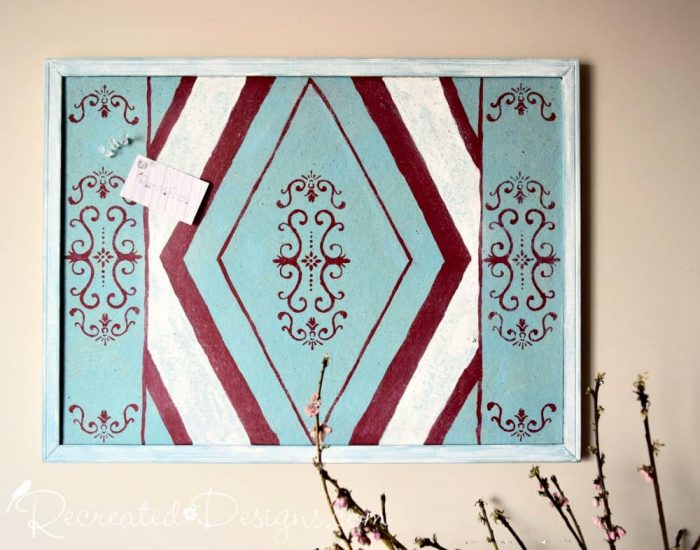 upcycling an old cord board into art with Annie Sloan Chalk paint