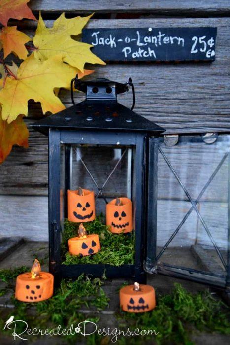 a Jack-o-Lantern patch with tea light jack-o-lanterns by Recreated Designs