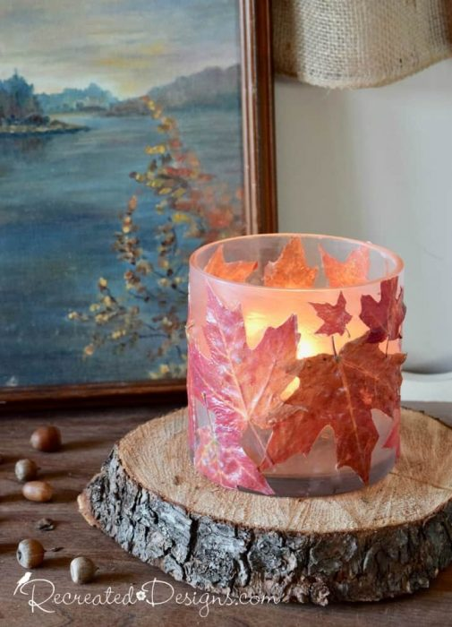 A class candle holder made from real maple leaves