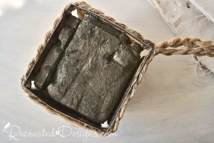 painting floral foam with Country Chic Belt Buckle Metallic Cream