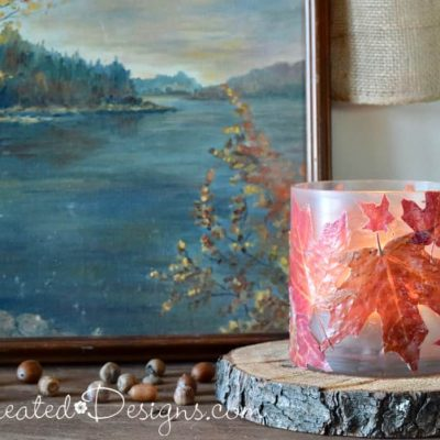 Using real Canadian Maple Leaves to make a glass candle holder