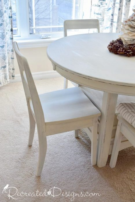 wood chairs painted with Miss Mustard Seed's Milk Paint