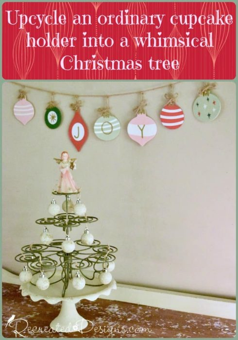 turn a cupcake holder into a Christmas tree with Recreated Designs