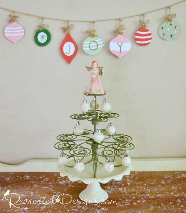 cupcake holder turned Christmas tree