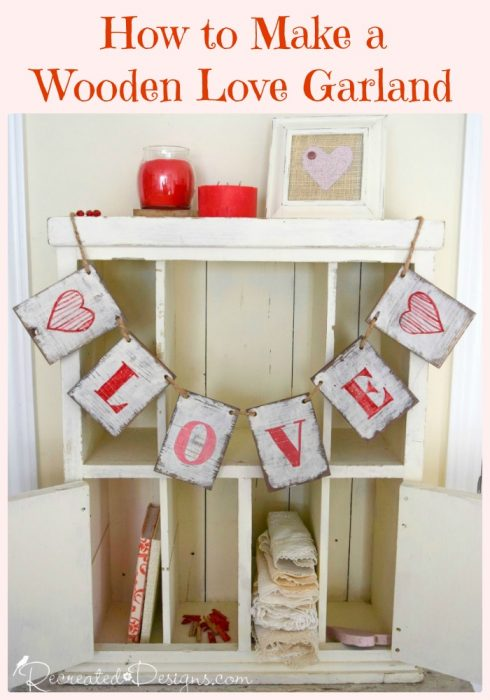 how to make a wooden love garland
