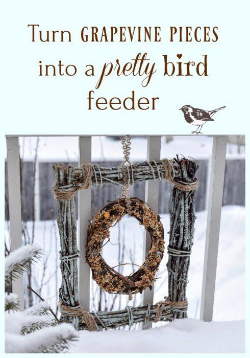 turn grapevine pieces into bird feeder