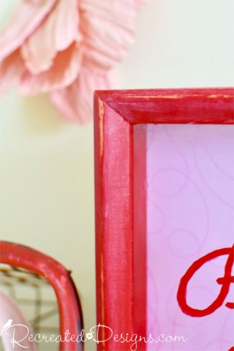 distressing of chalk paint on shadow box