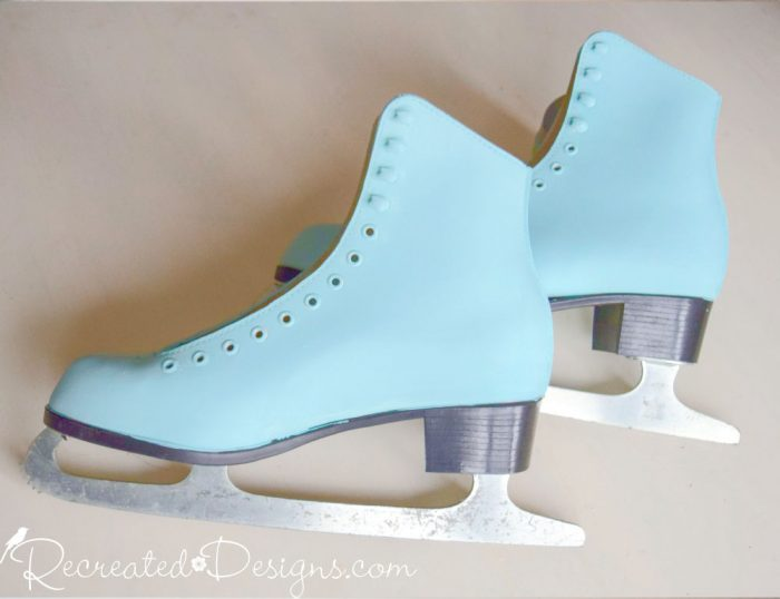 skates painted with Country Chic Paint in Icicle