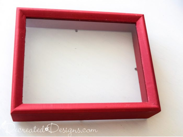 shadow box painted with Annie Sloan chalk paint in Emperor's Silk