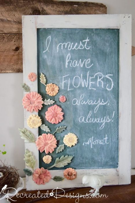 an old door upcycled into a vintage inspired chalk board