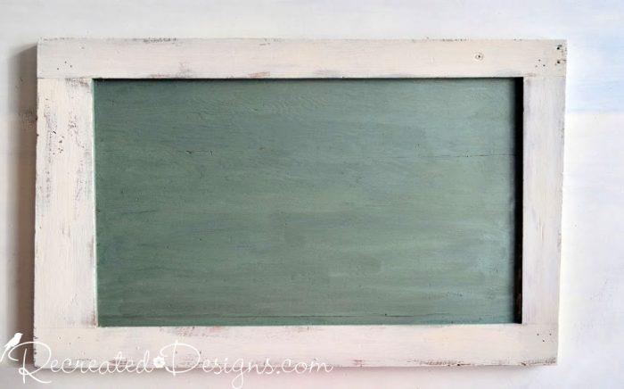 vintage looking chalk board made using Miss Mustard Seed's Milk Paint