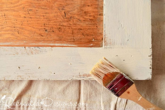 painting a door with Annie Sloan Chalk Paint in Old Ochre