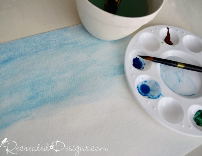 watercolor paints and paper