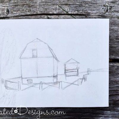 a sketch of old barns before painting